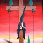 Sacrificio della Croce sull'altare della finanza, 2013 olio su tela 60x80 cm, Pasquale Mastrogiacomo