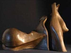 Sazio il Toro sbadiglia, 1994 terracotta patinata cm 23x18x14