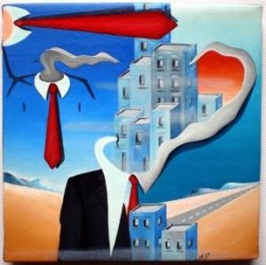 Mezzobusto con paesaggio,2010 olio su tela cm 20x20