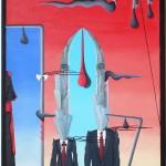 Conferenza stampa (press conference), 2014 dipinto olio su tela (painting oil on canvas) cm35x50, Pasquale Mastrogiacomo, Acerno (SA).
