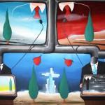 Videoconferenza sullo stato di salute del mondo(Videoconference on the state of health of the world), 2012 olio su tela cm 60x80, Pasquale Mastrogiacomo Acerno(SA)
