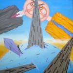 Contrapposizione inframezzata da una strada(Contrast interspersed with a road), 2008 olio su tela 50x70 cm, Pasquale Mastrogiacomo Acerno (SA)