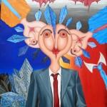 I tre rappresentanti(The three representatives), 2007 olio su tela cm100x100, Pasquale Mastrogiacomo Acerno (SA)