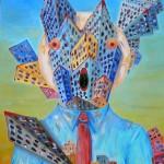 Personificazione di una città(Personification of a city), 2008 olio su tela cm70x90, Pasquale Mastrogiacomo Acerno(SA)