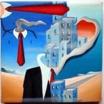 Mezzobusto con paesaggio(Bust with landscape), 2010 olio su tela cm20x20, Pasquale Mastrogiacomo Acerno(SA)