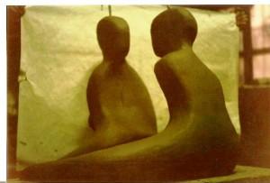 Amanti, 1996/97 scultura in argilla, Pasquale Mastrogiacomo, Acerno (SA)