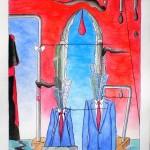 Conferenza stampa (Press conference), 2014 disegno a penna e acquerello (Drawing in pen and watercolor) cm 30x40, Pasquale Mastrogiacomo, Acerno (SA).