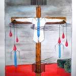 Crocifissione di colletti bianchi (crucifixion of white-collar), 2014 disegno a penna e acquerello (Pen drawing and watercolor), cm 30x40, Pasquale Mastrogiacomo, Acerno (SA).