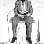 Disegno a penna 2012, Sacrificio della Croce sull'altare della finanza, Pasquale Mastrogiacomo, Acerno(SA)
