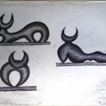 Schizzi preparatori di un toro stilizzato per un bassorilievo in marmo, 1996 disegno a penna,Stylized sketches of a bull for a marble bas-relief, pen drawing, Pasquale Mastrogiacomo