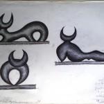 Schizzi preparatori di un toro stilizzato per un bassorilievo in marmo, 1996 disegno a penna,Stylized sketches of a bull for a marble bas-relief, pen drawing, Pasquale Mastrogiacomo