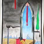 """Una """"cattedrale"""" in Europa (A """"cathedralin"""" Europe), 2014 disegno a penna e acquerello (drawing in pen and watercolor) cm 30x40, Pasquale Mastrogiacomo, Acerno (SA)."""
