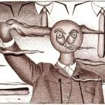 Disegno a penna, Caduta delle ideologie 2009, Pasquale Mastrogiacomo Acerno(SA)
