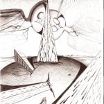 Disegno a penna, Dualismo per un bene materiale, 12/12/2006 cm 21x29,6, Pasquale Mastrogiacomo Acerno(SA)