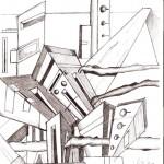 Disegno a penna, Paesaggio in disordine 06/07/2007, Pasquale Mastrogiacomo Acerno(SA)