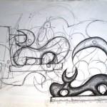 Schizzo preparatorio di un toro stilizzato, 1996 disegno a penna,Preparatory sketch of a stylized bull pen drawing , Pasquale Mastrogiacomo, Acerno (SA).