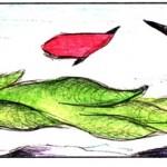 Disegno a penna e acquerello, Cipresso ricurvo 2012, Pasquale Mastrogiaomo Acerno(SA)