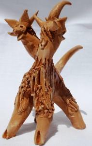 Animale bicefalo, 1995 terracotta cm 10, Pio Mastrogiacomo, Acerno (SA).