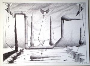 Disegno preparatorio, Natura Morta, 2013 disegno a penna 32x24 cm, Preparatory Drawing, Still Life, 2013 pen drawing 32x24 cm, Pasquale Mastrogiacomo, Acerno (SA).