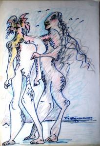Animali in coppia, 1995 disegno a matita e colori a spirito, Animals in pairs, 1995 pencil drawing and colors to wit, Pio Mastrogiacomo, Acerno (SA).