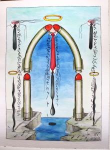 Principio e Fine (Beginning and End),2014 disegno a penna e acquerello (Pen drawing and watercolor)cm 30x40, Pasquale Mastrogiacomo, Acerno (SA).