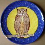 Gufo (Owl), 2004 diametro 40 cm, ceramica artistica (ceramic art), Pasquale Mastrogiacomo, Acerno (SA).