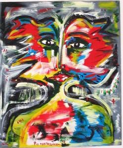 Volto di donna (Woman face), 1996 dipinto acrilico su tela (painting acrylic on canvas) cm 100x100, Pio Mastrogiacomo, Acerno (SA).