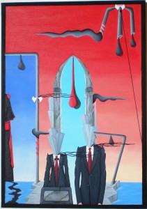 Conferenza stampa (press conference), 2014 dipinto olio su tela (painting oil on canvas), cm 35x50, Pasquale Mastrogiacomo, Acerno (SA).
