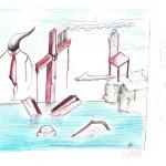 Dopo un nubifragio: schizzo (After a storm: sketch), 2014 disegno a penna e pastelli (pen drawing and pastels) cm  29,5x21, Pasquale Mastrogiacomo, Acerno (SA).