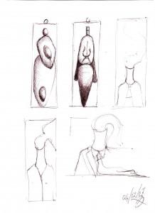 Varietà umane (Variety human), 2007 disegno a penna su carta (Pen drawing on paper) cm 21x29,5, Pasquale Mastrogiacomo, Acerno (SA).