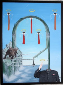 Tirannie a confronto (Tyrannies in comparison), 2015 dipinto olio su tela (painting oil on canvas) cm60x80, Pasquale Mastrogiacomo, Acerno (SA).