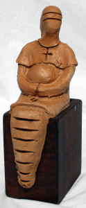 Custos virginitatis, 1997 bozzetto in terracotta (earthenware sketch), h cm 17, Pasquale Mastrogiacomo, Acerno (SA).