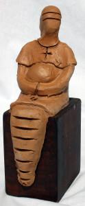 Custos virginitatis, 1997 bozzetto in terracotta (earthenware sketch), h cm 17, Pasquale Mastrogiacomo, Acerno (SA).