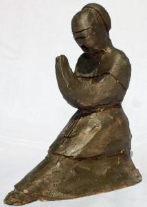 Vescovo in contempla-zione (Bishop in contemplation), 1997, bozzetto in terracotta patinata (Terracotta sketch coated), Pasquale Mastrogiacomo, Acerno (SA).