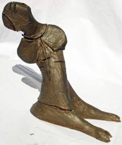 Prostrazione di un prete ( Prostration a priest) 1996  bozzetto in terracotta patinata  (Terracotta sketch coated), Pasquale Mastrogiacomo, Acerno (SA).