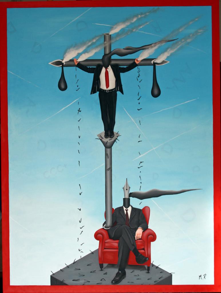 Crocifissione contemporanea (contemporary crucifixion), 2015 dipinto olio su tela (painting oil on canvas) cm 60x80, Pasquale Mastrogiacomo, Acerno (SA).