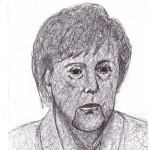 Scarabocchio a penna (Scribble in pen), Angela Merkel, 2017 disegno a penna su carta, cm 24x32,Pasquale Mastrogiacomo, Acerno (SA).