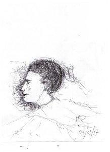 Scarabocchio a penna (Pen scribble), Profilo di una donna immaginaria, disegno a penna (Pen drawing) su foglio A4, Pasquale Mastrogiacomo, Acerno (SA).