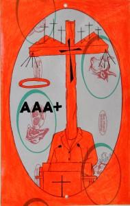 Disegno eseguito con penna nera e rosso fluorescente su carta politenata (carta per alimenti usata in macelleria) successivamente plastificata. Biennale del libro d