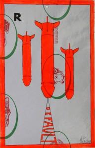 Crocifissione per Default (composizione 7/7). Disegno eseguito con penna nera e rosso fluorescente su carta politenata (carta per alimenti usata in macelleria) successivamente plastificata. Biennale del libro d
