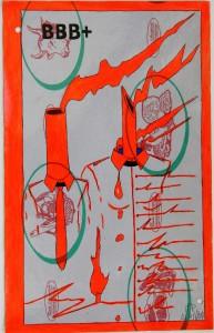 Crocifissione per Default (composizione 3/7). Disegno eseguito con penna nera e rosso fluorescente su carta politenata (carta per alimenti usata in macelleria) successivamente plastificata. Biennale del libro d