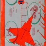 Crocifissione per Default (composizione 5/7). Disegno eseguito con penna nera e rosso fluorescente su carta politenata (carta per alimenti usata in macelleria) successivamente plastificata. Biennale del libro d'artista 2017, Napoli. Pasquale Mastrogiacomo, Acerno (SA).