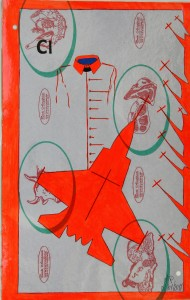 Crocifissione per Default (composizione 5/7). Disegno eseguito con penna nera e rosso fluorescente su carta politenata (carta per alimenti usata in macelleria) successivamente plastificata. Biennale del libro d
