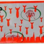 Crocifissione per Default (composizione 6/7). Disegno eseguito con penna nera e rosso fluorescente su carta politenata (carta per alimenti usata in macelleria) successivamente plastificata. Biennale del libro d'artista 2017, Napoli. Pasquale Mastrogiacomo, Acerno (SA).