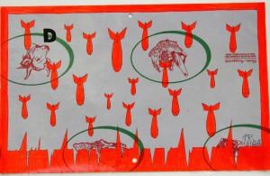 Crocifissione per Default (composizione 6/7). Disegno eseguito con penna nera e rosso fluorescente su carta politenata (carta per alimenti usata in macelleria) successivamente plastificata. Biennale del libro d