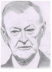 Ritratto (portrait) di Zbigniew Brzezinski, 2017 matita su foglio A4, Pasquale Mastrogiacomo, Acerno (SA).