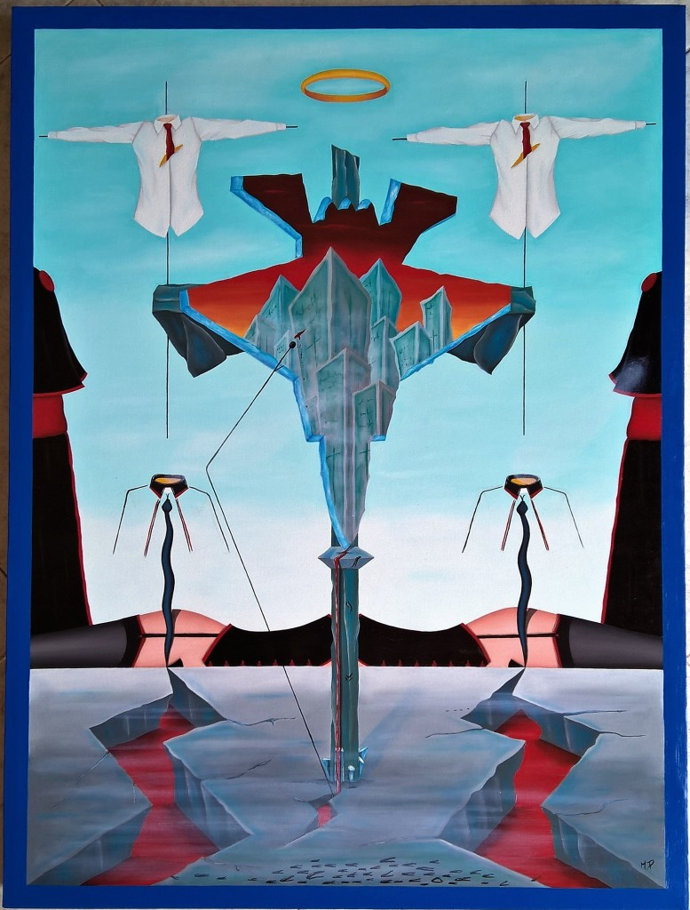 I peccati della finanza (The sins of finance), 2017 olio su tela , cm 60x80, Pasquale Mastrogiacomo, Acerno(SA).