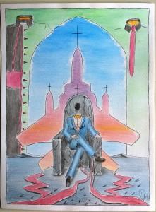 Intellighenzia ambivalente,2017 disegno a penna e acquerello (pen drawing and watercolor), cm 30×40, Pasquale Mastrogiacomo, Acerno (SA).