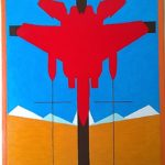 Crocifissione di un caccia da guerra (Crucifixion of a warplane), 2017 olio su tela (oil painting on canvas) cm 30x39,5,Pasquale Mastrogiacomo,Acerno(SA).