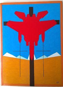 Crocifissione di un caccia da guerra (Crucifixion of a warplane), 2017 olio su tela (oil painting on canvas) cm 30x39,5,Pasquale Mastrogiacomo,Acerno(SA).